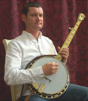 Charles Wood and his favorite banjo - the Maple Kel Kroydon KK11 with the Dannick Tone Ring